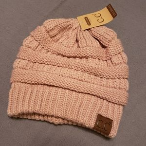 CC Pink Beanie hat with soft fuzzy lining NWT